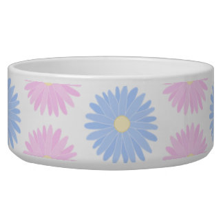 Pastel Flowers in Pink and Blue. Dog Bowls