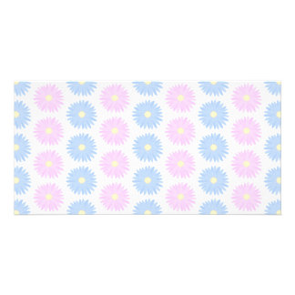 Pastel Flowers in Pink and Blue. Photo Card Template