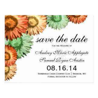 Pastel Flowers Mint Coral Peach Save the Date Postcard
