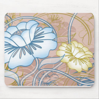 pastel flowers mouse pad