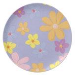 Pastel Flowers on Lavender Dinner Plate Dinner Plates
