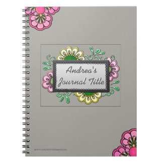 Pastel Flowers on Soft Warm Gray  (Personalized) Spiral Notebook