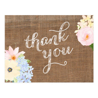 pastel flowers thank you card, burlap lace yellow postcard