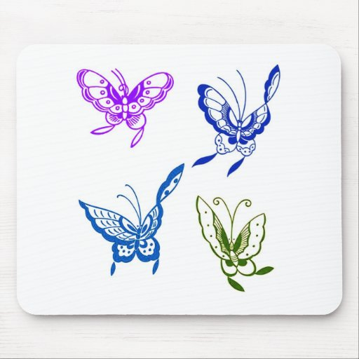 PASTEL FLYING BUTTERFLIES MOUSE PAD
