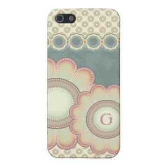 Pastel Folk Art Flowers Monogram iPhone 5 Cover