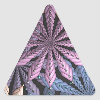 Pastel Fractal Flowers Art Triangle Sticker