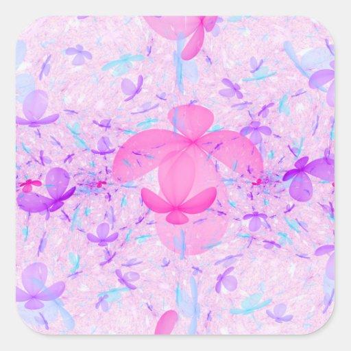 Pastel Fractal Flowers Square Sticker