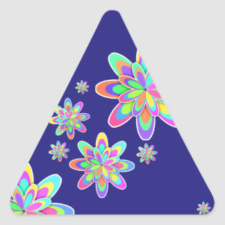 Pastel Fractal Girly Flowers Triangle Sticker