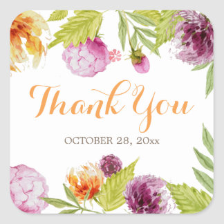 Pastel Garden Watercolor Floral Thank You Square Sticker