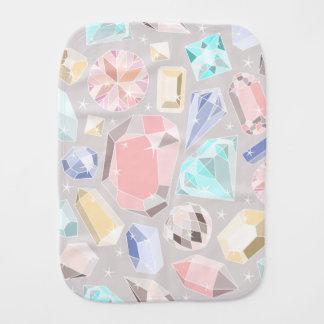 Pastel Gemstone Diamond Pattern PInk Aqua Gems Baby Burp Cloth