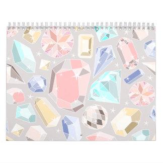 Pastel Gemstone Diamond Pattern PInk Aqua Gems Wall Calendars