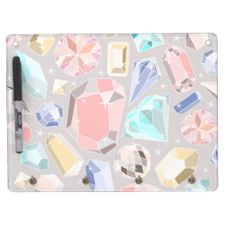 Pastel Gemstone Diamond Pattern PInk Aqua Gems Dry Erase Board With Keychain Holder