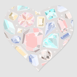 Pastel Gemstone Diamond Pattern PInk Aqua Gems Heart Sticker