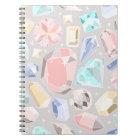 Pastel Gemstone Diamond Pattern PInk Aqua Gems Notebook