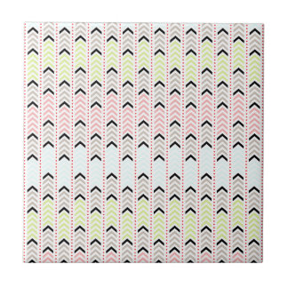 Pastel Geometric Aztec Chevron Design Ceramic Tile