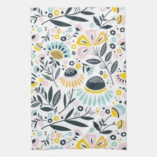Pastel Geometric Floral Kitchen Towel at Zazzle
