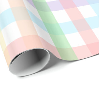 Pastel Gingham Stripes Wrapping Paper