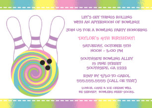 Girl bowling party invitations zazzle pastel girl bowling birthday party invitations filmwisefo