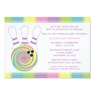"Pastel Girl Bowling Birthday Party Invitations 5"" X 7"" Invitation Card"
