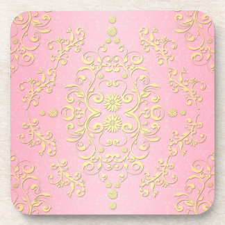 Pastel Girly Pink and Yellow Floral Damask Coaster
