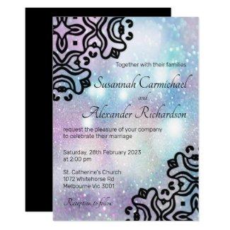 Pastel Glitter and Ornamental Black Wedding Invitation