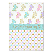Pastel Glitter Unicorn Polka Dot Party Invitations