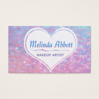 Pastel Glittery Blue and Pink with Heart Business Card