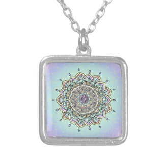 Pastel Glow Mandala ID359 Silver Plated Necklace
