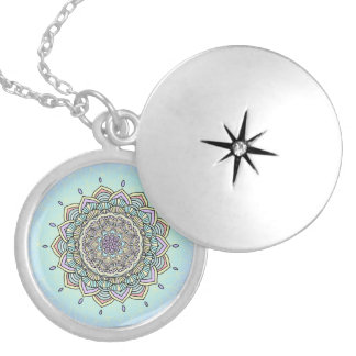 Pastel Glow Mandala ID359 Silver Plated Necklace