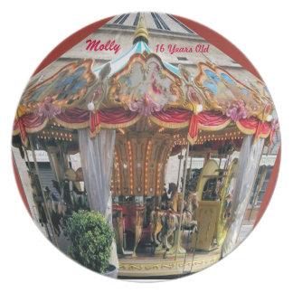 Pastel & Gold Carousel Pattern Design From Rome Melamine Plate