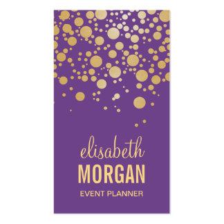 Pastel Gold Confetti Dots - Chic Lavender Purple Business Card