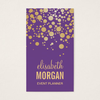 Pastel Gold Confetti Dots - Chic Lavender Purple Business Card