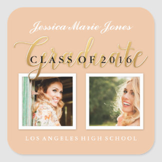 Pastel Gold Custom Color, Year Graduation Stickers