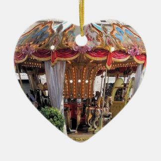 Pastel & Gold Floral Italian Carousel Pentagon Ceramic Ornament