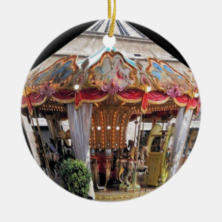 Pastel & Gold Floral Italian Carousel Pentagon Double-Sided Ceramic Round Christmas Ornament