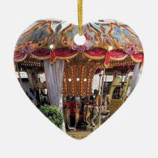 Pastel & Gold Floral Italian Carousel Pentagon Double-Sided Heart Ceramic Christmas Ornament