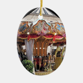 Pastel & Gold Floral Italian Carousel Pentagon Double-Sided Oval Ceramic Christmas Ornament