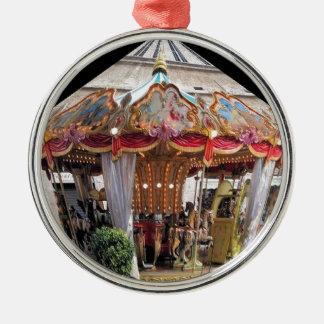 Pastel & Gold Floral Italian Carousel Pentagon Round Metal Christmas Ornament