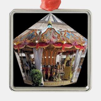 Pastel & Gold Floral Italian Carousel Pentagon Square Metal Christmas Ornament
