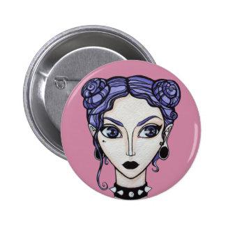 Pastel goth girl button