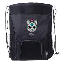 Pastel goth kitty cat sugar skull meow drawstring backpack