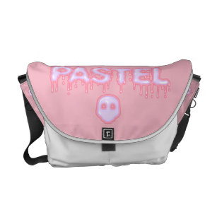 Pastel Goth Skull and Drippy Text Creepy Cute Courier Bag f2b320459a04a