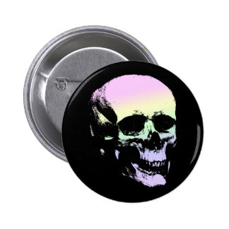 Pastel Goth Soft Rainbow Spooky Skull Button