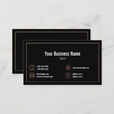 Pastel Gradient Frame Contact Icons Black Business Business Card