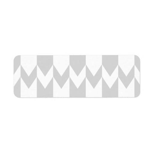 Pastel Gray and White Chevron Pattern. Return Address Label