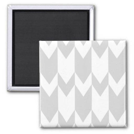Pastel Gray and White Chevron Pattern. Fridge Magnet