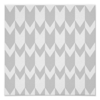 Pastel Gray and White Chevron Pattern. Posters