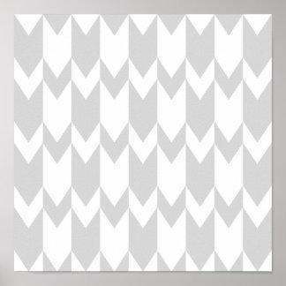 Pastel Gray and White Chevron Pattern. Poster