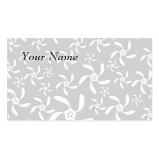 Pastel Gray and White Floral Design. Business Card Template