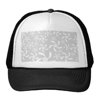 Pastel Gray and White Floral Design Trucker Hat